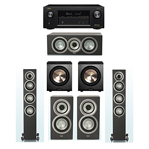 Lowest Prices! ELAC Uni-Fi Slim Black 5.2 System with 2 ELAC FS-U5 Floorstanding Speakers, 1 ELAC CC...