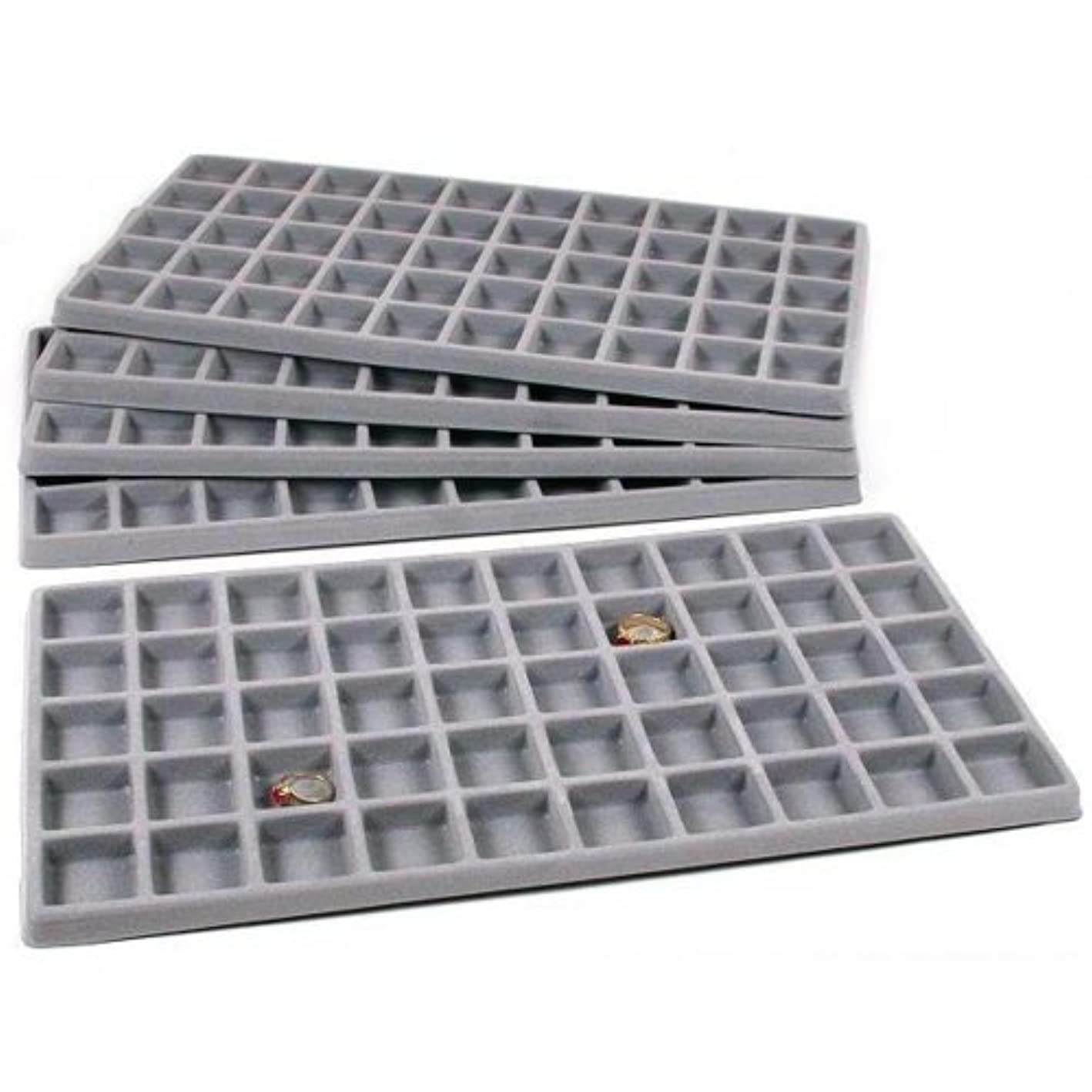FindingKing 5 Gray 50 Slot Pendant Jewelry Showcase Display Tray Inserts