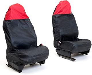 Auto Companion AUTOC-44 Universal Front Waterproof Seat Covers, Black with Red Top, Set of 2
