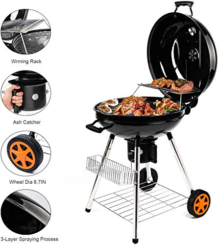 QOMOTOP Charcoal Grill 225 inch Barbecue Grill Patio Backyard Cooking Camping BBQ Grill Portable Charcoal Grill