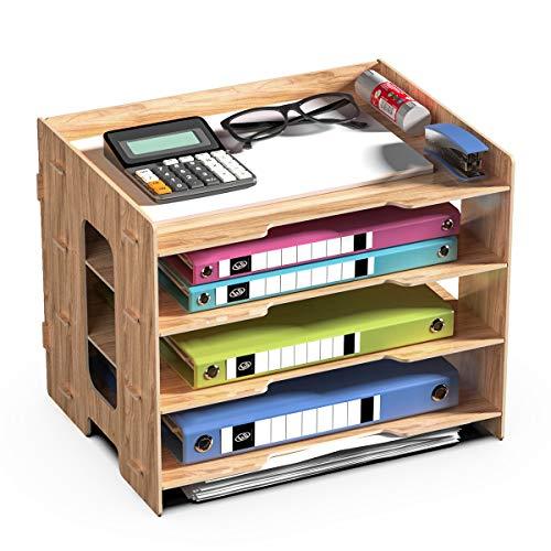 JOPOO Schreibtisch Holz Dokumentenablage, Büro Briefablage Papierablage A4 , Ablagefächer Papierablage für Papier Brief