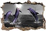 pixxp Blueprint 3D WD 4825_ 92x 62Feliz Delfines Saltar en el mar perforar Pared Adhesivo Pared en 3D, Vinilo, Negro/Blanco, 92x 62x 0,02cm