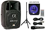 Alphasonik 8' Powered 1200W PRO DJ Amplified Loud Speaker Bluetooth USB SD Card AUX MP3 FM Radio PA System LED Ring Karaoke Mic Main Monitor, Band Church, Party, Guitar Amp, Home, BBQ w/ Tripod Stand