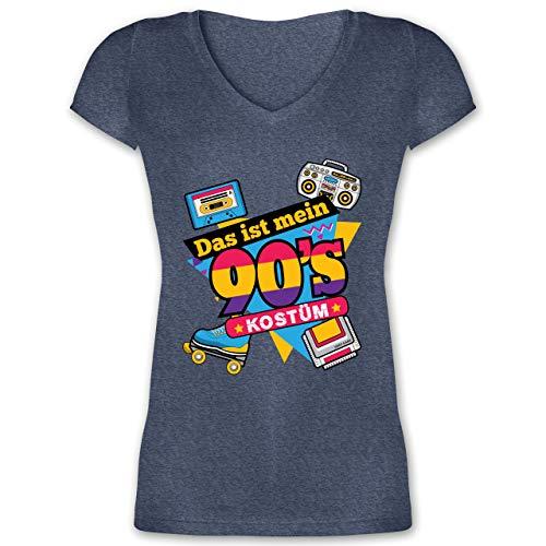 Karneval & Fasching - Das ist Mein 90er Jahre Kostüm - L - Dunkelblau meliert - t-Shirt 90er Damen - XO1525 - Damen T-Shirt mit V-Ausschnitt
