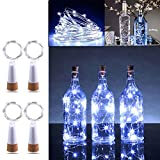 KOBWA LED luz de Botella, luz de Bricolaje Cobre Alambre Cadena Estrellado USB con Recargable para Boda, Halloween, Navidad, Partido Decoración 59In 15 Leds