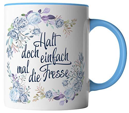 vanVerden Tasse - Halt doch einfach mal die Fresse! - Blumen Aquarell Blau Motiv - beidseitig Bedruckt - Geschenk Idee Kaffeetassen mit Spruch, Tassenfarbe:Weiß/Blau