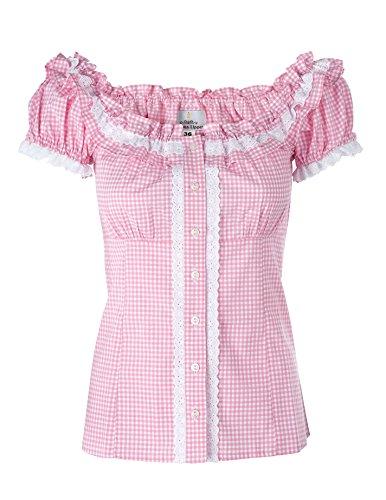 Ramona Lippert® - Damen Dirndl Bluse Laila 36 Rosa Kariert Rundausschnitt mit Rüschen im Rücken einstellbare Schlaufen - Trachtenbluse - Blusen für Trachten z.B. zum Oktoberfest