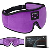 Boodlab Sleep Headphones Bluetooth Sleep Mask, 3D Sleep Eye Mask with Ultra-Thin HD Stereo Speakers Washable Adjustable for Sleeping Side Sleepers, Air Travel,Yoga,Meditation,Holiday (Purple)