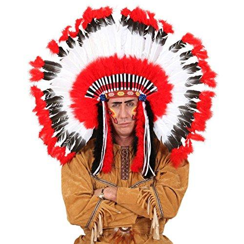 Amakando Indianer Federschmuck Häuptling Kopfschmuck Squaw Federhaube Feder Perücke Western Kopfbedeckung Mottoparty Haarschmuck