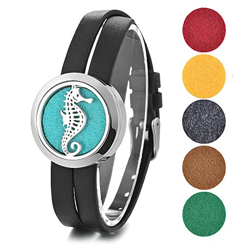 Aromatherapy Essential Oil Diffuser Locket Bracelet Leather Bangle 316L Surgical Grade Stainless Steel with 5 Felt Pads Ocean Series (Sea Horse)