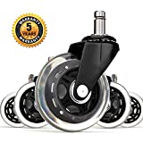 Corvids Universal Fit Rollerblade Type PU Rubber Office Chair Replacement Caster Wheels , Safe for All Kinds Floors (3-inches, Stem Size 11/22 mm) - Set of 5