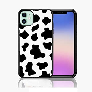 Xunqian iPhone 11 Case,Cute Cow Print Thin Soft Black TPU +Tempered Mirror Material Protective Case for Apple iPhone 11 Ca...