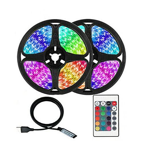 Striscia LED NC, RGB LED con telecomando che cambia colore, SMD 5050, luci LED luminose per TV, cucina, casa, feste, decorazione natalizia, sotto armadio, cucina, TV (4 metri)