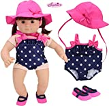 Sophia's 15 Inch Baby Doll Bathing Suit Navy Polka Dot Baby Doll Bathing Suit, Hot Pink Hat & Matching Water Shoes | Perfect for Bitty Baby Dolls & More! | Doll Not Included