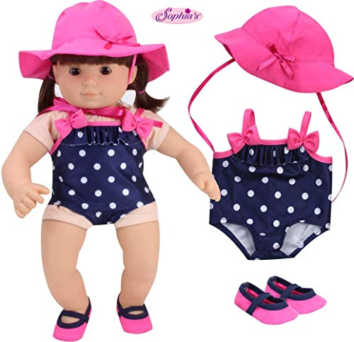 Sophias 15 Inch Baby Doll Bathing Suit Navy Polka Dot Baby Doll Bathing Suit, Hot Pink Hat & Matching Water Shoes | Perfect for Bitty Baby Dolls & More! | Doll Not Included