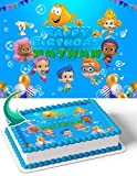 Cakecery Bubble Guppies BG Edible Cake Image Topper Personalized Birthday Cake Banner 1/4 Sheet