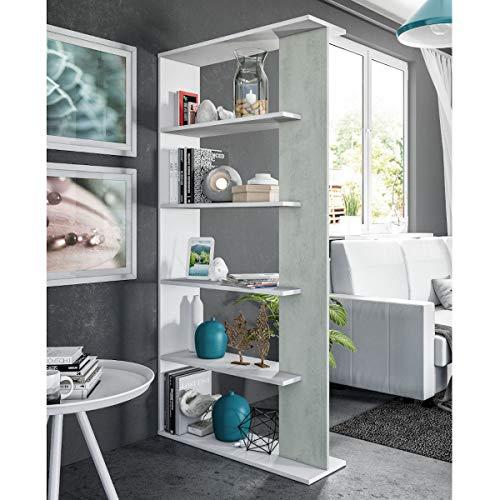 MarinelliGroup Libreria scaffale Multiuso Cemento/Bianco con Ripiani 90 X 25 X 180 cm Salone Studio Camera - 0L2252A