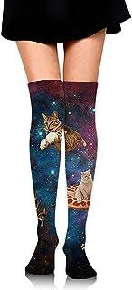 Pizza Cat In Space Calcetines hasta la rodilla para mujer Novedad Cosplay Fiesta Muslo Medias Custume Crazy Socks