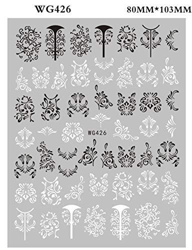 BLOUR 1 Uds.Pegatinas para decoración de uñas, diseño de líneas geométricas Blancas y Negras Doradas, decoración Adhesiva para decoración de uñas, Adhesivo Elegante para uñas con tótem