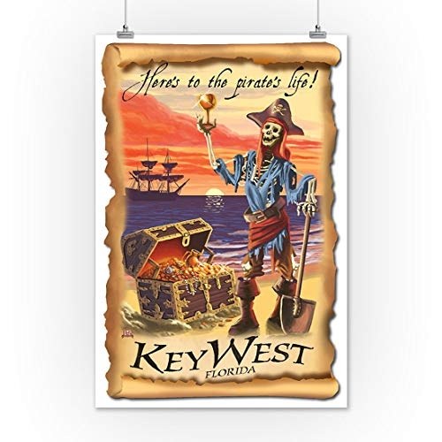Key West, Florida Canvas - Pirate Plunder Canvas Wall Art Canvas 0.75 Inch, Home Decor (Size 8x12, 12x18, 16x24, 24x36 Inches)