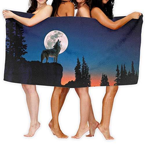 LOPEZ KENT Serviettes de Plage pour Femmes Hommes Blanket Space Moon Tropical Howling Wolf Bath Sheets Popular 100% Polyester Swim Large Towel Cover for Yoga Mat Tent Floor 31.5' X 51.2'