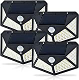 Solar Lights Outdoor, Upgraded Solar Security Lights Outdoor Motion Sensor(100LED/1200Lm), Super Bright Solar Lamps IP65 Waterproof 3 Modes 270° Wide Angle Solar Wall Lights Outdoor Garden (4 Pack)