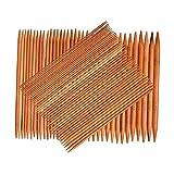 harayaa 75 Unids/Set Agujas de Tejer de Bambú Carbonizado de Doble Punto Puntadas 15 Tamaños