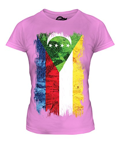 Candymix Comores Pays Drapeau Grunge T-Shirt Femme, Taille X-Small, Couleur Rose