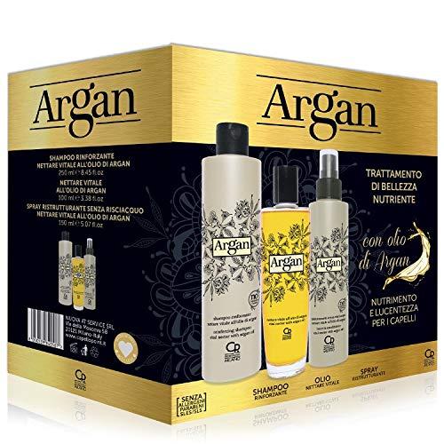 Argan - Trattamento Professionale di Bellezza Nutriente - Con Shampoo Rinforzante e Nutriente, il Trattamento Professionale Profondo Antiossidante e Idratante all'Argan e lo Spray Ristrutturante
