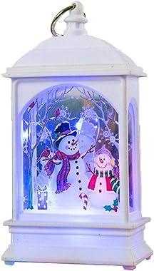 Quyi Lanterne de Noël lumineuse boule à neige de Noël Décoration de Noël lumineuse lumière de nuit fil de cuivre lampe blanc