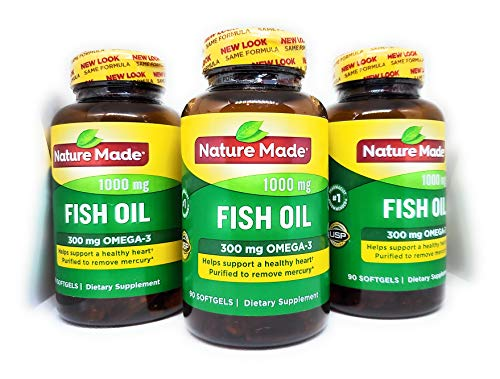 Nature Made Fish Oil 1000 mg w. Omega-3 300 mg Softgels (90 Count Pack of 3)