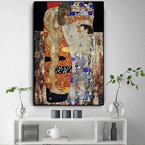 Crazystore Póster de Arte 60x80cm sin Marco Las Tres Edades de la Mujer de Gustav Klimt Pintura al óleo sobre Lienzo Arte de la Pared Impresiones Póster Imágenes Decoración de la Sala de Estar