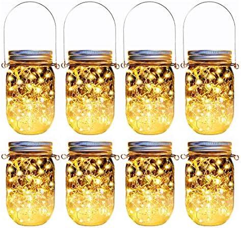 Solar Mason Jar Lights 8 Pack 30 Led Hanging String Fairy Jar Solar Lantern Lights for Outdoor product image