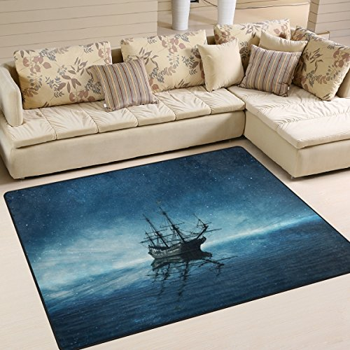 ALAZA Ghost Pirate Ship Starry Night Ocean Sea Area Rug Rugs for Living Room Bedroom 7' x 5'