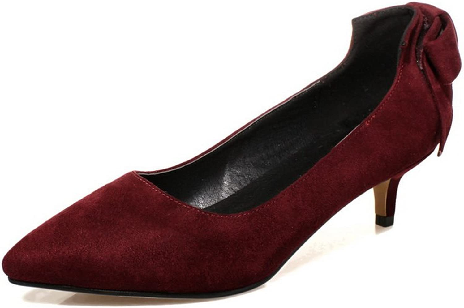 1TO9 Girls Bowknot Romanesque Style Low-Heels Imitated Suede Pumps-shoes