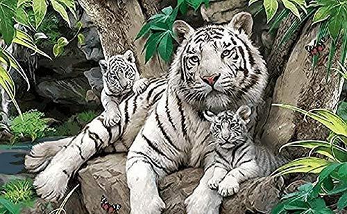 N/ A DIY digitaal schilderij, witte tijger dier muurschildering, huisdecoratie, handgeschilderde olieverf voor kinderen en volwassenen