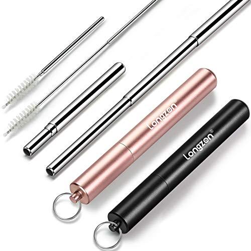 Paille inox, longzon[2P]pailles reutilisables, télescopique pliant de fer paille acier metal biodegradable, mieux que paille bambou, télescopique brosse+paquet de tubes portable trousseau-Noir+Or rose