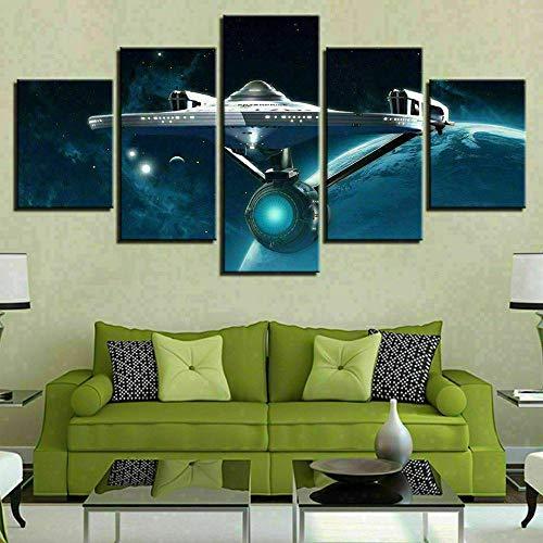 GHYTR Nave Enterprise De Star Trek Cuadro sobre Impresión Lienzo 5 Piezas Marco 150X80Cm HD Arte De Pared Modulares Sala De Estar Dormitorios Decoración para El Hogar Póster Regalo