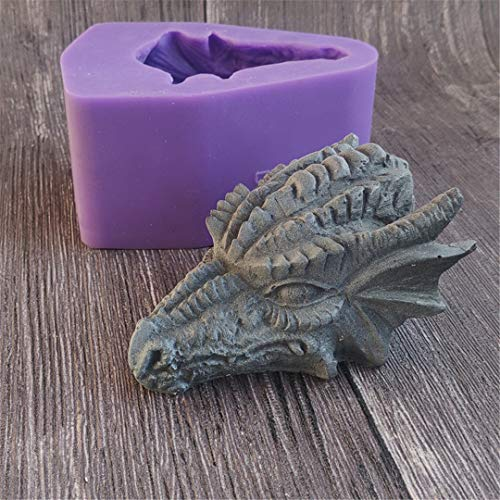 3D Dragon Silicone Mold,Runloo Candle Molds Soap Molds Chocolate Cake Baking Moulds Fondant Dragon Head Arts Molds