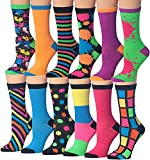 Tipi Toe Women's 12 Pairs Colorful Funky Fashion Colorblock PaintSplash Crew Dress Socks, (sock size 9-11) Fits shoe size 5-9, WC34-AB