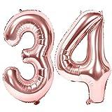 Siumir Numéro Ballons 34 Ans Géant Ballons en Or Rose Foil Helium Ballons Fête d'anniversaire Ans Anniversaire Décoration