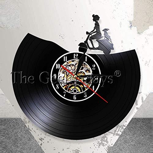 Stehlampe hängen Verkehr Wandbehang Kunst Roller Wanduhr Retro Motorrad Vinyl Schallplatte Wanduhr Motorrad Heimtextilien Biker Geschenk Schmuck Tischlampe