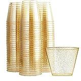 SIRUL 100 Glitzer-Plastikbecher, 9 Oz durchsichtige Plastikbecher, 100er-Pack, Gold-Glitzer-Einwegbecher, recycelbare Weingläser für Partys, Elegante Partybecher aus Kunststoff