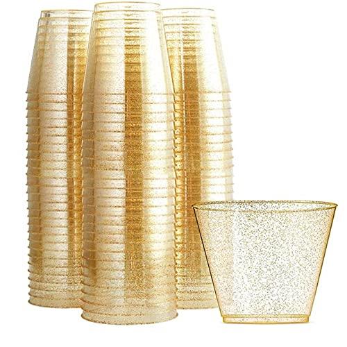 SIRUL 100 Bicchieri di plastica Glitterati, Bicchieri di plastica Trasparente da 9 Once, Confezione da 100 Bicchieri monouso con Glitter Dorati, Bicchieri da Vino riciclabili per Feste