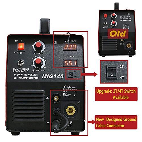 140 Amp MIG Wire Welder, Flux Core & Aluminum Gas Shielded Welding with 2T/4T Switch Argon Regulator, Metal Wire Feeder