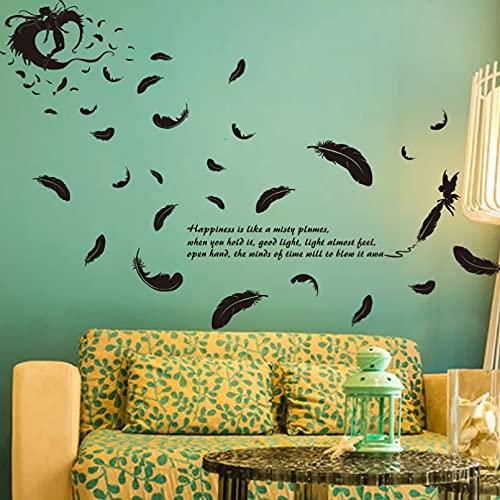 Pegatina de pared de plumas voladoras negras para decoración del hogar, sala de estar, fondo, decoración, papel tapiz, pegatina