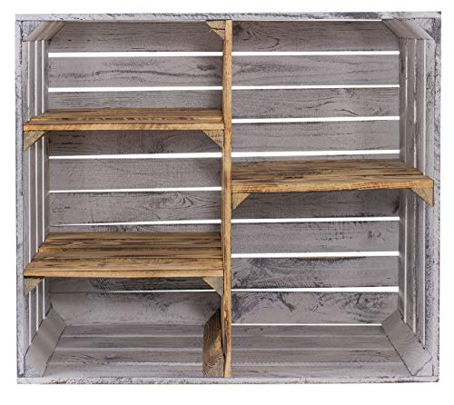 1x Großes Vintage Holzregal mit fünf Fächern, Holzkiste neu, 68x35x77cm (GrauVintage_Geflammt)