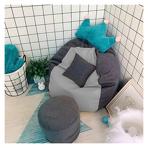 ZIJ Lazy Sofá grande y pequeño perezoso fundas de sofá, reclinable, silla, asiento, puf, cojín, sofá mullido, sillas de salón Tatami sin fille (color gris claro L)
