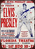 Elvis Presley Concert Florida Theatre 注意看板メタル安全標識壁パネル注意マー表示パネル金属板のブリキ看板情報サイン