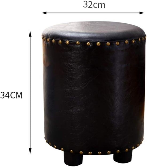 Tabourets Faux cuir à la main huile-cire Repose-pieds Repose-pied Maquillage Commode Canapé plateau de table Tabouret Pouf Siège Chaise de Banc Ottoman (Color : White) Blue